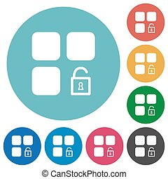 Unlock component flat round icons