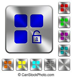 Unlock component rounded square steel buttons