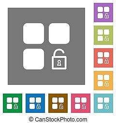 Unlock component square flat icons
