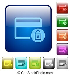 Unlock credit card transactions color square buttons