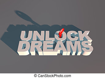 UNLOCK DREAMS TYPOGRAPHY METAPHOR WITH KEY FOR aspiration
