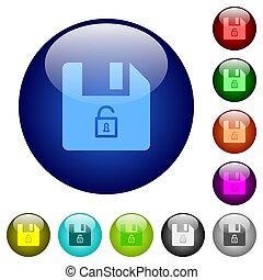 Unlock file color glass buttons