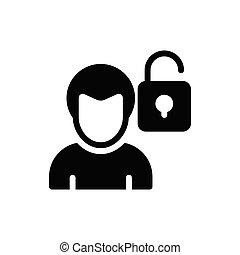 unlock glyph flat icon