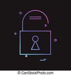 Unlock icon design vector