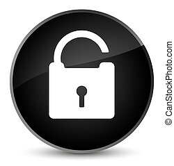 Unlock icon elegant black round button
