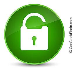 Unlock icon elegant green round button