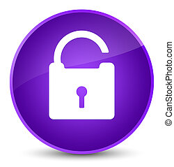 Unlock icon elegant purple round button