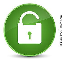 Unlock icon elegant soft green round button