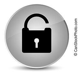 Unlock icon elegant white round button