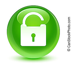 Unlock icon glassy green round button