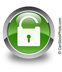 Unlock icon glossy soft green round button