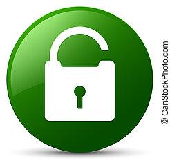 Unlock icon green round button