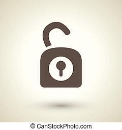 Unlock icon - retro style unlock icon isolated on brown...