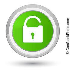 Unlock icon prime soft green round button