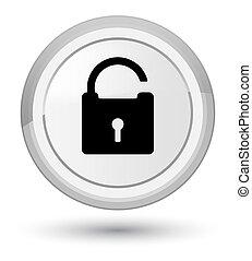 Unlock icon prime white round button