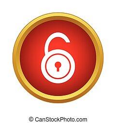 Unlock icon, simple style