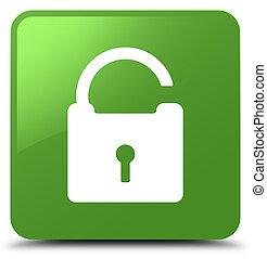 Unlock icon soft green square button