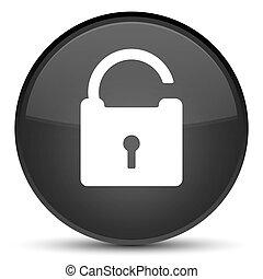 Unlock icon special black round button