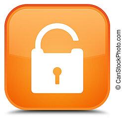 Unlock icon special orange square button