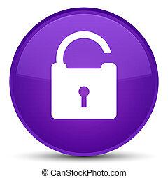 Unlock icon special purple round button