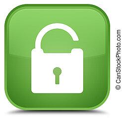 Unlock icon special soft green square button