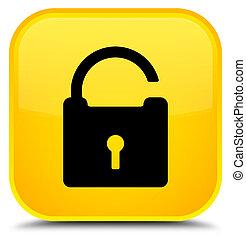 Unlock icon special yellow square button