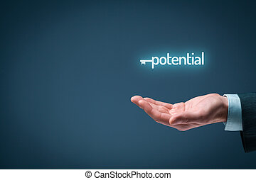 Unlock potential - motivational concept. Businessman with ...