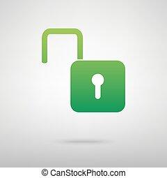 Unlock sign. Green icon