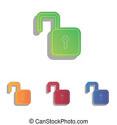 Unlock sign illustration. Colorfull applique icons set.