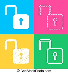 Unlock sign illustration. Four styles of icon on four color squares.