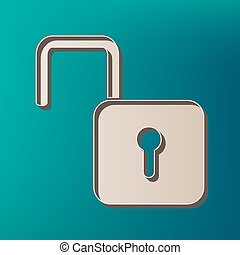 Unlock sign illustration. Vector. Icon printed at 3d on sea color background.