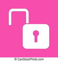 Unlock sign illustration. White icon at magenta background.