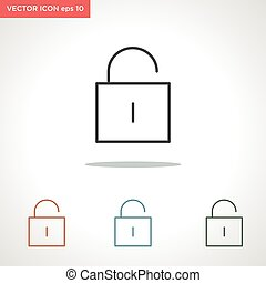 unlock vector line icon isolated on white background
