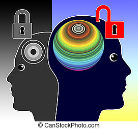 Unlock your Mind - Concept sign of a genius person ...
