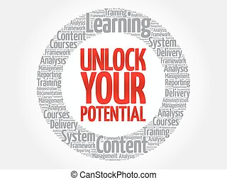 Unlock your potential circle word cloud