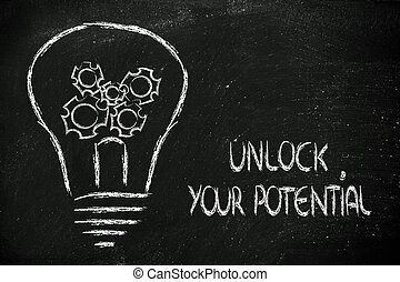 unlock your potential, lightbulb with gearwheels metaphor of...