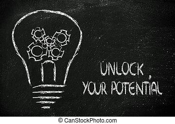 unlock your potential, lightbulb with gearwheels metaphor of...