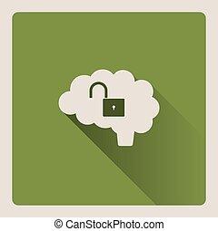 Unlocked brain illustration on green background with shade
