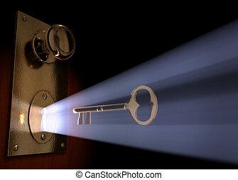 Unlocked Ideas - Conceptual 3D art of a key moving towards...
