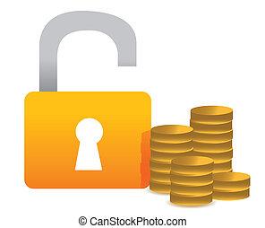 Unlocked money illustration concept design over white