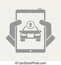 Unlocking car by application - Flat and isolated vector...