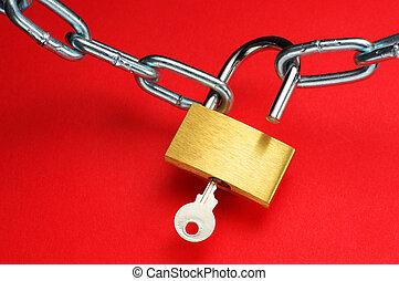 Unlocking padlock.