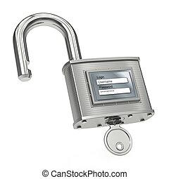 Unlocking padlock with login and password. 3d