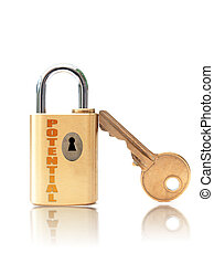 Padlock keyhole labeled with potential over a white background