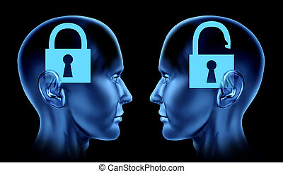 Open mind as key locked and un locked brain mind as human heads in phsycology or phsycological mindlock memories therapy.