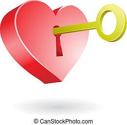 golden key unlocking the secret of love, vector illustration
