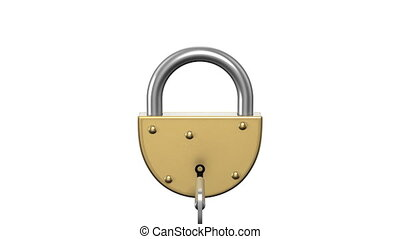 Unlocking the lock with a key. HD. Alpha mask.