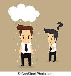 Unlucky businessman being wet from rain