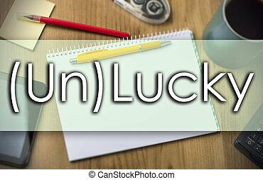 (un)lucky, -, concept affaires, à, texte