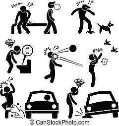 Unlucky Man Bad Luck People Karma - A set of pictograms...